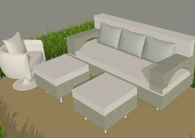 3D Rendering of Custom Wicker Furniture from Shape of Wicker, Naples Florida