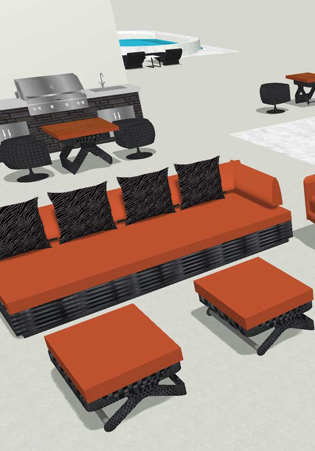 3D CAD Design of Outdoor Custom Wicker Furniture from Shape of Wicker Naples, Florida