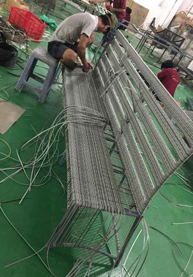 Weaving in Process of Building Shape of Wicker Custom Wicker Furniture Naples, Florida