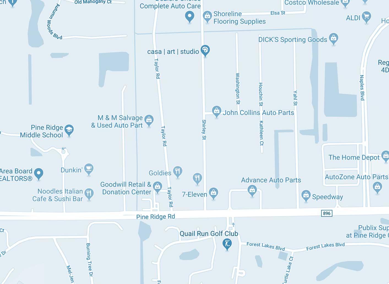 Naples Florida Map of Pine Ridge Road and Shirley Street | Shape of Wicker Custom Wicker Furniture Naples