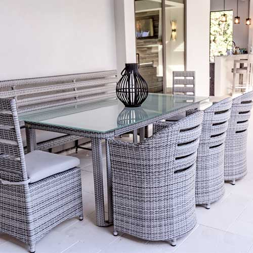 Outdoor Wicker Dining Table and Chairs designed and manufactured by Shape of Wicker | Custom Affordable Wicker Furniture Naples