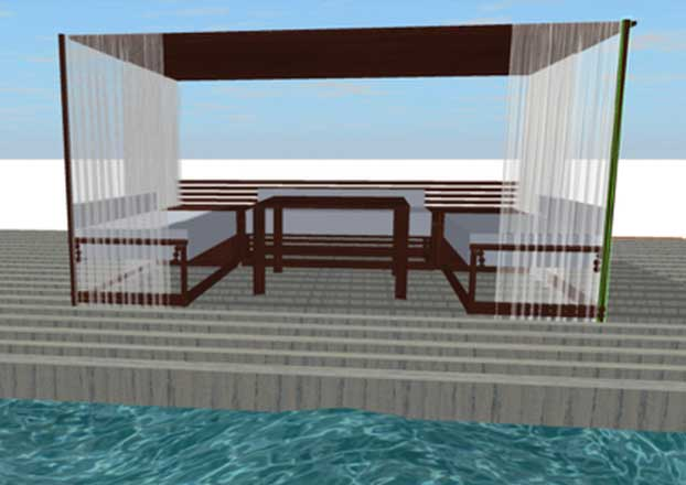 Rendering of custom wicker outdoor seating area from Shape of Wicker Custom Wicker Furniture Naples, Florida