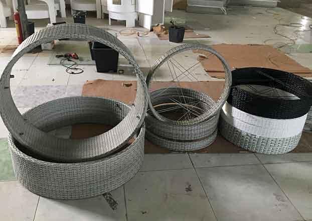 Weaving in Process of Building Shape of Wicker Custom Wicker Furniture Naples, Florida