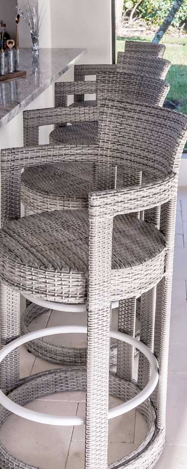 Wicker Bar Stools designed and manufactured by Shape of Wicker | Custom Affordable Wicker Furniture Naples
